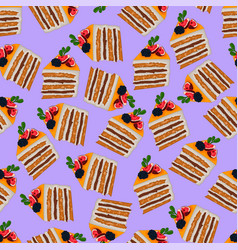 Realistic orange cake slices with fruit and berry vector