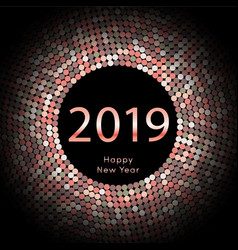 red discoball new year 2019 greeting poster happy vector image