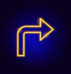 Right arrow neon sign vector