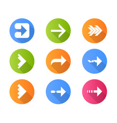 Right arrows flat design long shadow glyph icons vector