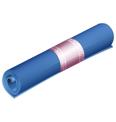 Rolled yoga mat on white vector