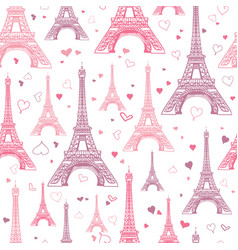 Romantic pink eifel tower paris seamless vector