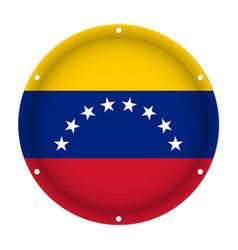 Round metallic flag of venezuela with screw holes vector