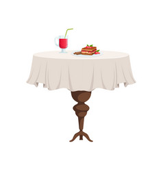 Round restaurant table with white tablecloth vector