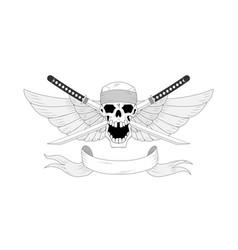 samurai warrior skull with traditional japanese vector image
