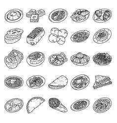 Saudi arabia food set icon doodle hand drawn vector