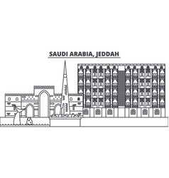 Saudi arabia jeddah line skyline vector