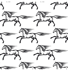 Seamless pattern of galloping horses vector
