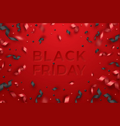 serpentine balls and red ribbons black friday vector image