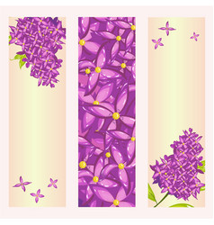 set of floral banner templates with lilac flower vector image