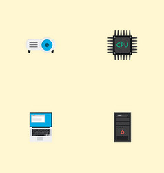 set of pc icons flat style symbols with processor vector image