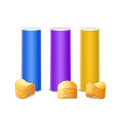 Set of Purple Blue Yellow Tin Box with Chips vector