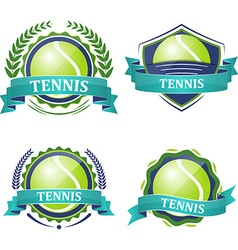 Set of tennis sport icons with ribbons laurel vector image