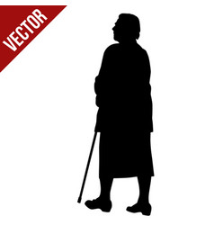 silhouette a elderly woman with cane vector image