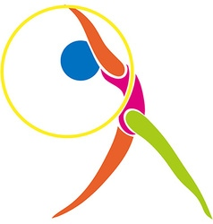 Sport icon for gymnastics with hoop vector