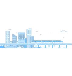 subway cityscape monorail metro train in vector image
