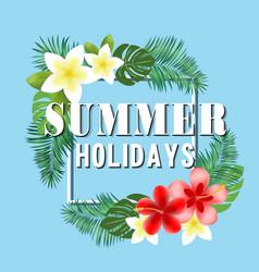 Summer holidays flowers blue background ima vector