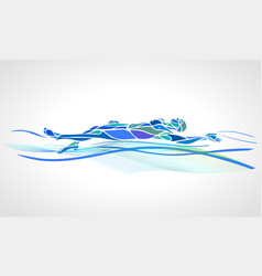 Swimmer backstroke color silhouette vector