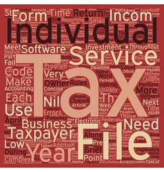 Tax services for individuals text background vector