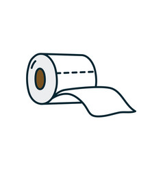 Toilet paper icon line and fill style vector