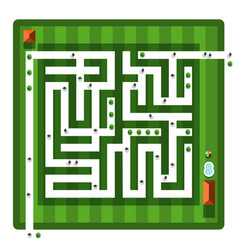 Top view maze aerial view hedge labyrinth with vector