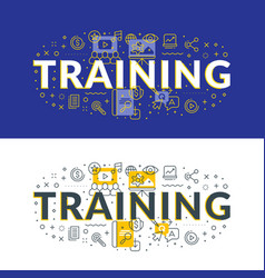 Training flat line concept for web banner and vector