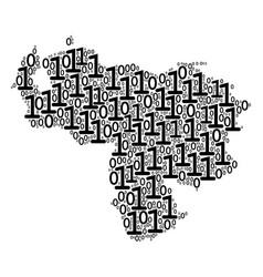 venezuela map mosaic of binary digits vector image