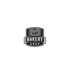 vintage badge bakery logo vector image
