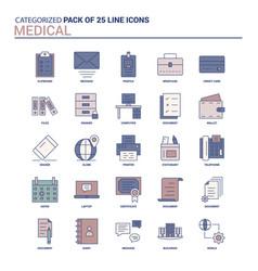 Vintage medical icon set - 25 flat line icon set vector