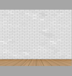 wall of white brick and wooden floor vector image
