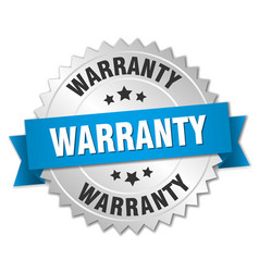 Warranty 3d silver badge with blue ribbon vector