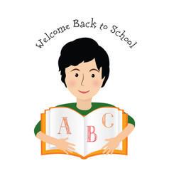 welcome back to school cheerful smiling little boy vector image