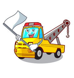 With flag tow truck for vehicle branding character vector