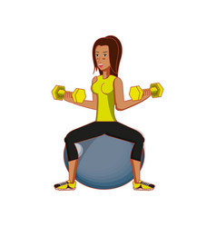 Young athletic woman practicing pilates vector