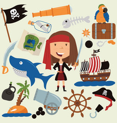 cute beauty pirate girl and various objects vector image