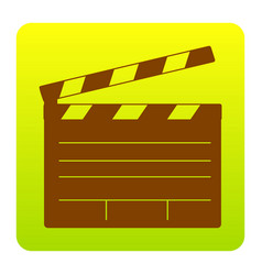 film clap board cinema sign brown icon at vector image