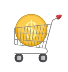 Flat supermarket cart icon with golden coin money vector