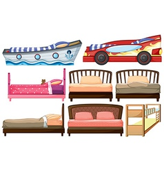 Different bed designs vector image vector image