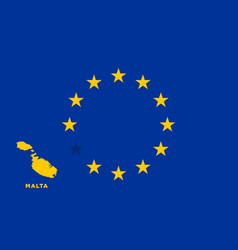 eu flag with malta country european union vector image