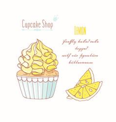 Hand drawn cupcake lemon flavor vector