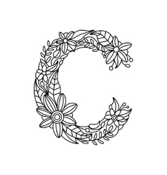 Letter C coloring book for adults vector image