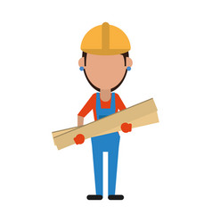 woman building construction wooden boards vector image