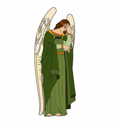 Angel thoughtful vector