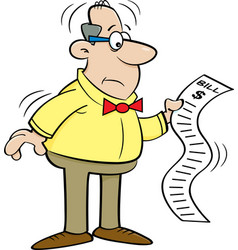 cartoon man looking at a bill vector image