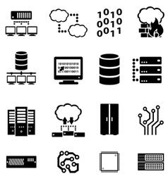 Data computer and cloud computing icons vector image