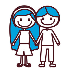 Hand drawing silhouette caricature couple kids vector