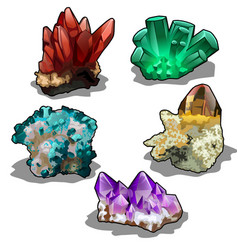 isolated set of five uncut precious mineral vector image
