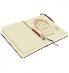 sketchbook with pen vector image vector image