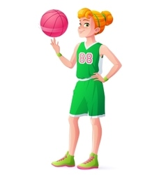 young redhead basketball player girl vector image vector image