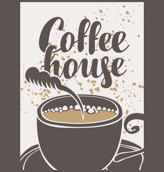 Banner with a cup of coffee and inscription vector